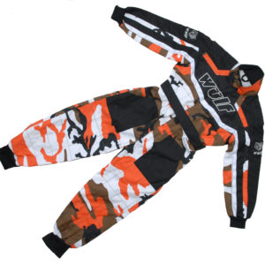 Wulfsport Cub Racing Suit Orange Camo