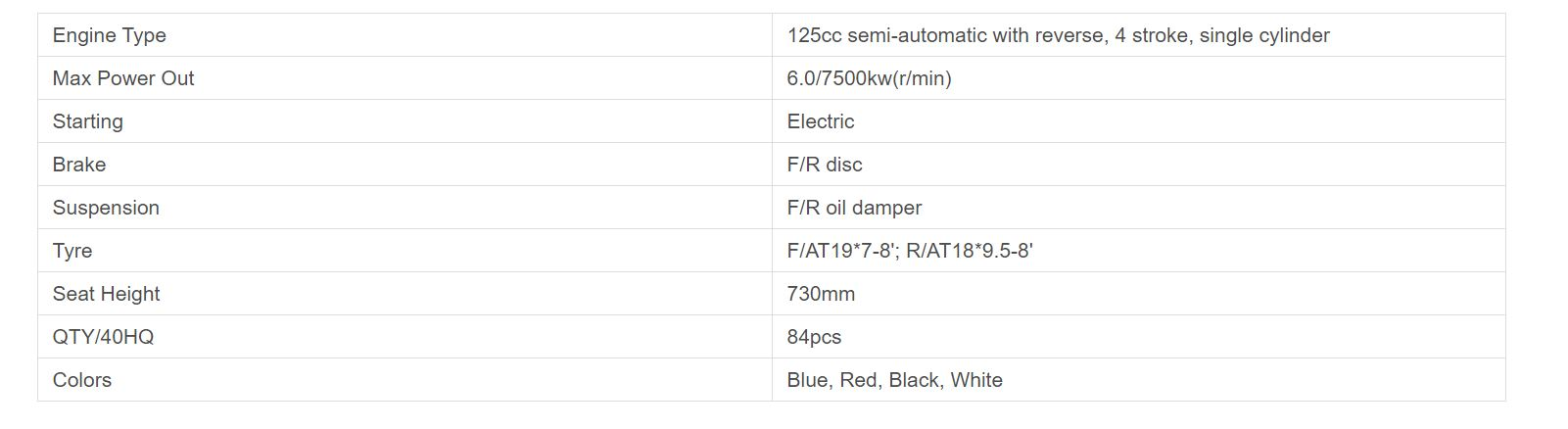 pentora 125 cc features